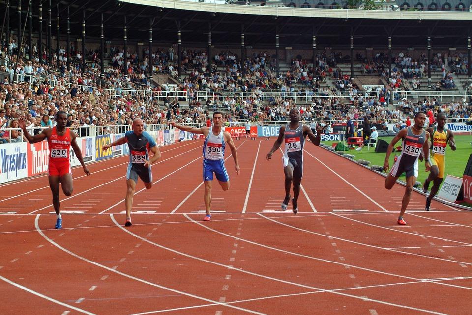 Competition, Sprinter Contest, Goal Line, Athletics