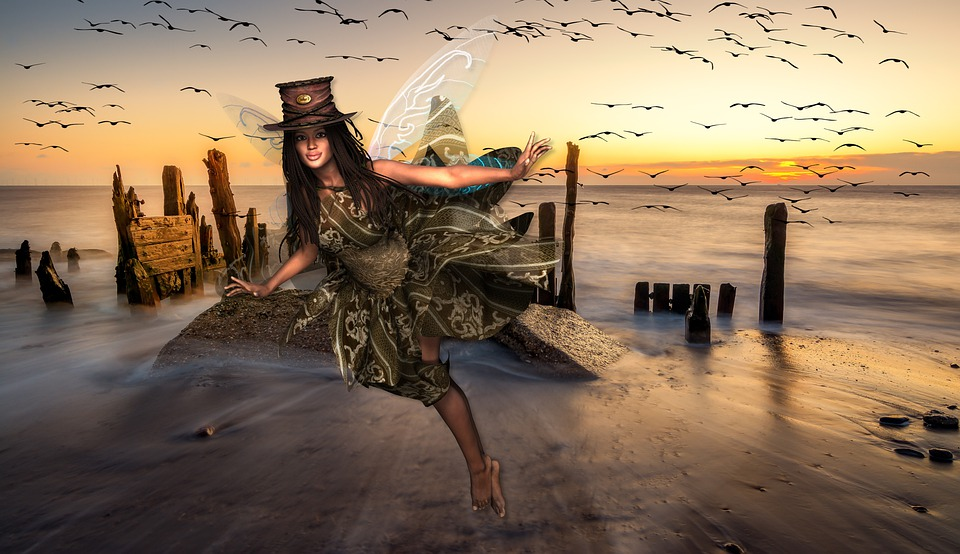 Angel, Wings, Sea, Birds, Composing, Fantasy, Landscape