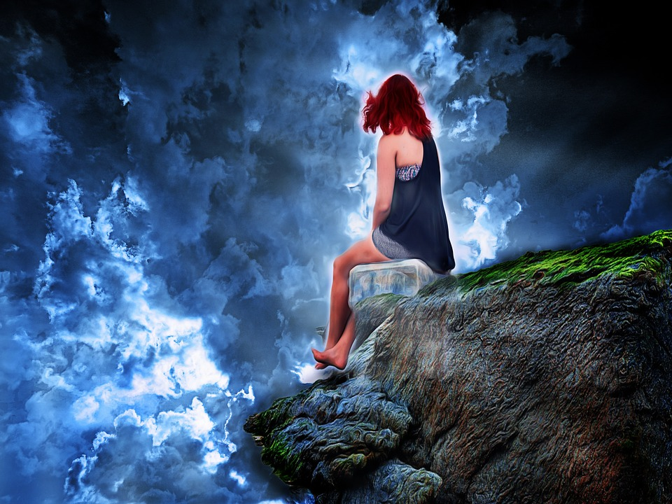 Woman, Sky, Rock, Composing, Photo Art, Blue