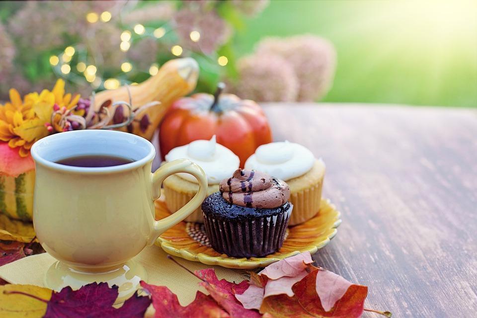 Cupcakes, Tea, Autumn, Composition, Desserts, Sweets
