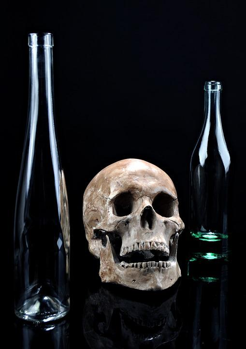 Death, Skull, Glass, Dark, Composition, Bottle, Black