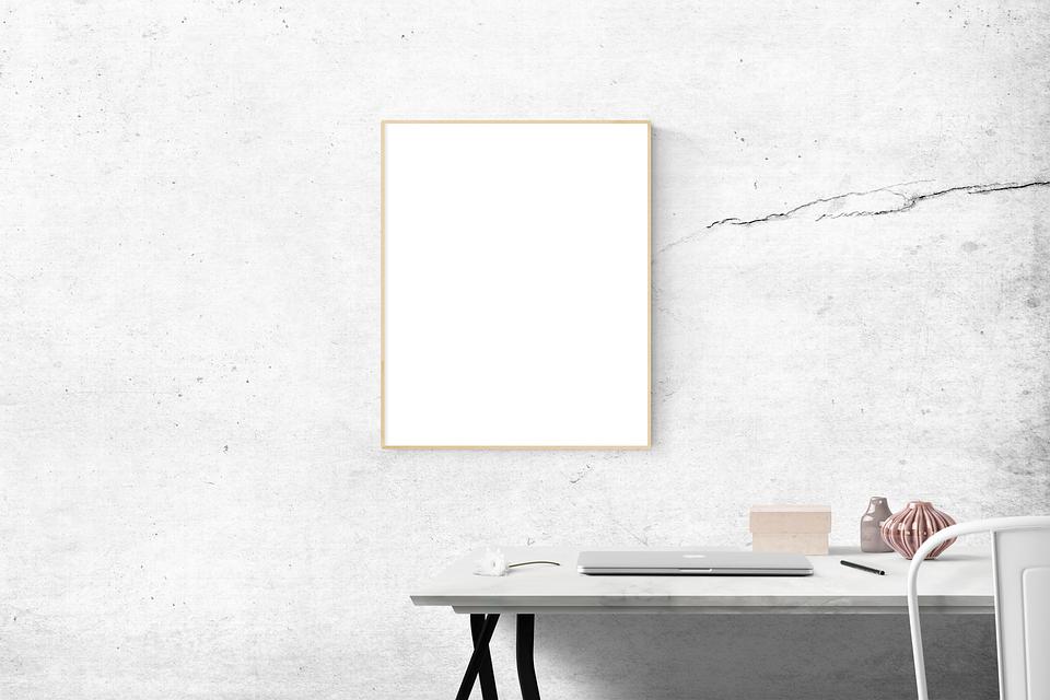 Blank, Desk, Frame, Simple, Mockup, Computer