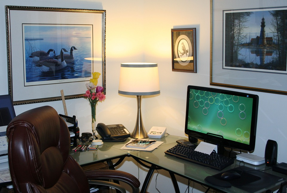 Home Office, Work Space, Computer, Office, Desk, Table