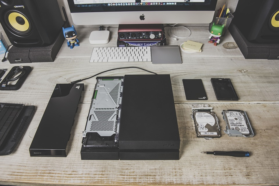 Computer, Hard Drive, Parts, Desk, Office, Desktop