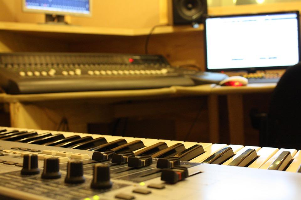 Recording Studio, Piano, Monitor, Computer