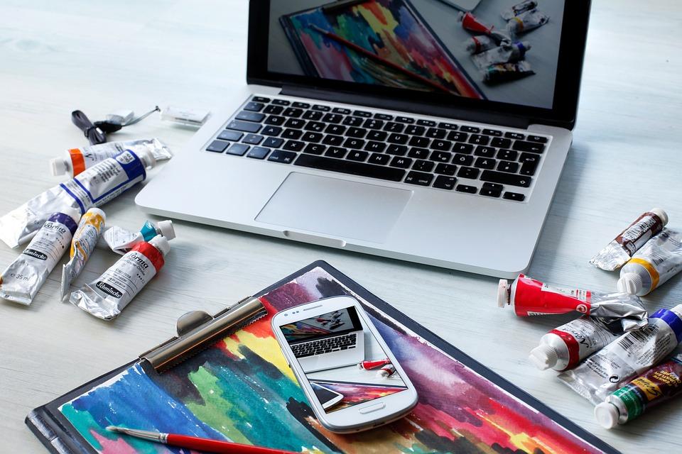 Workplace, Macbook, Computer, Digital, Oil Painting