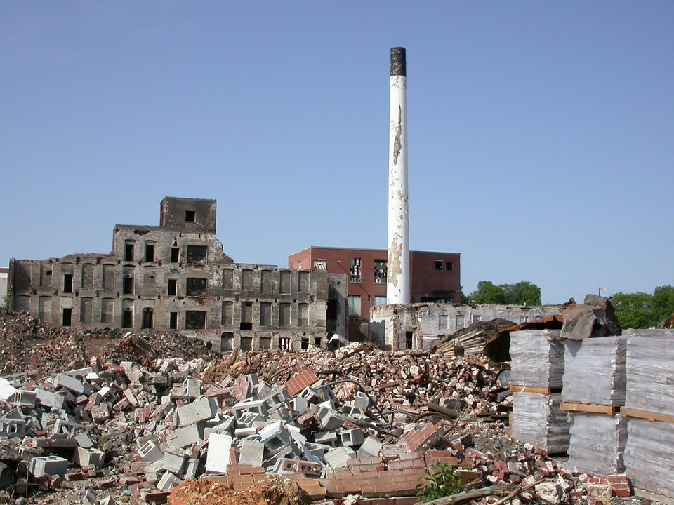 Decay, Wasteland, Factory, Rubble, Concrete Block