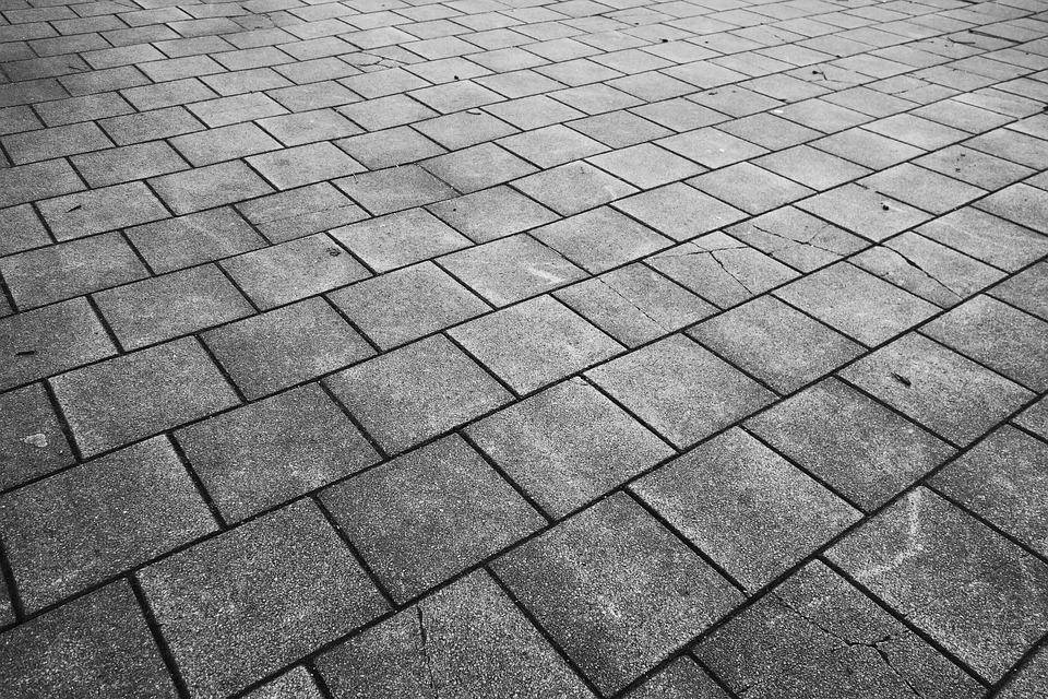 Pavement, Paving, Sidewalk, Tile, Gray Tile, Concrete