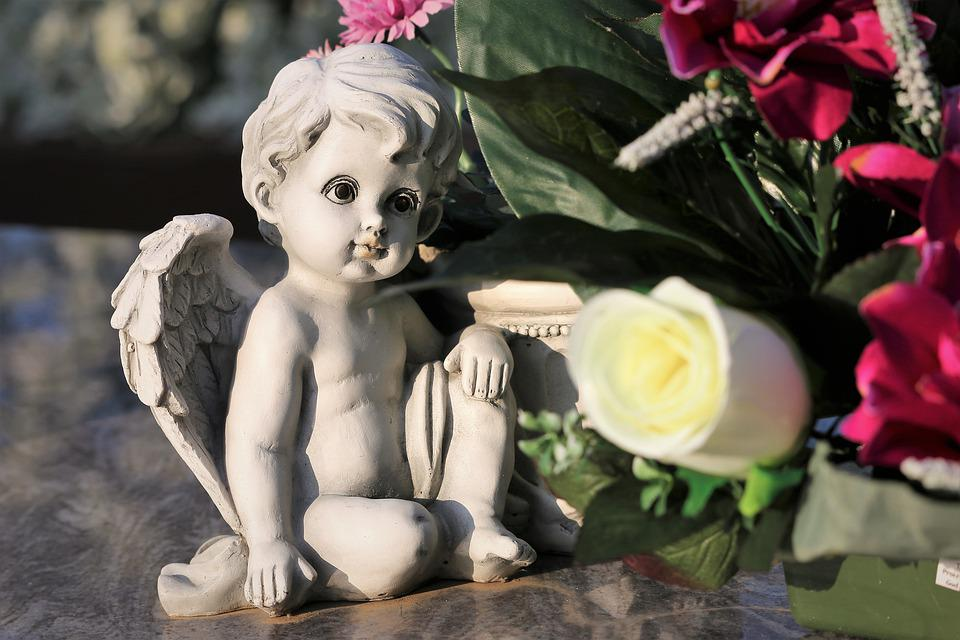 Stone Angel, Decoration, Artificial Flowers, Condolence