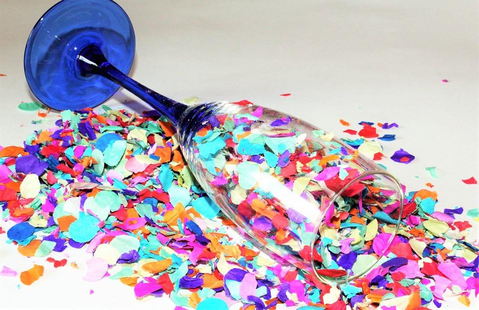 Confetti, Champagne Glass, Vice Falling Sektglas