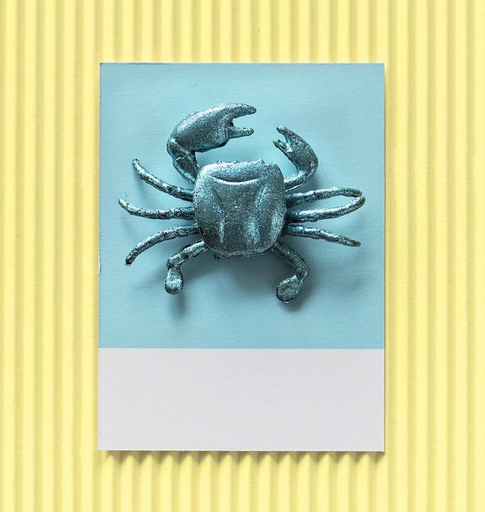 Background, Blue, Card, Colorful, Confetti, Crab, Craft