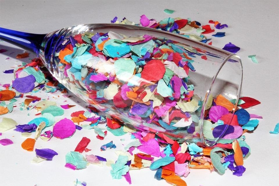 Confetti, Champagne Glass, Colorful, Party