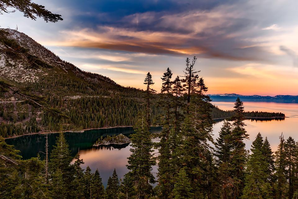 Lake, Trees, Mountains, Conifers, Coniferous
