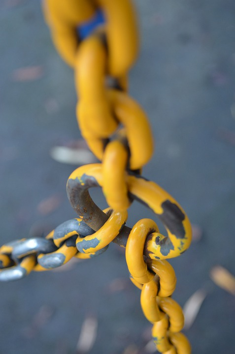 Yellow, Chains, Metallic, Connected, Links, Flexible