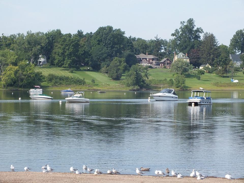 Cove, Wethersfield, Connecticut, Boats, Gulls, Ducks
