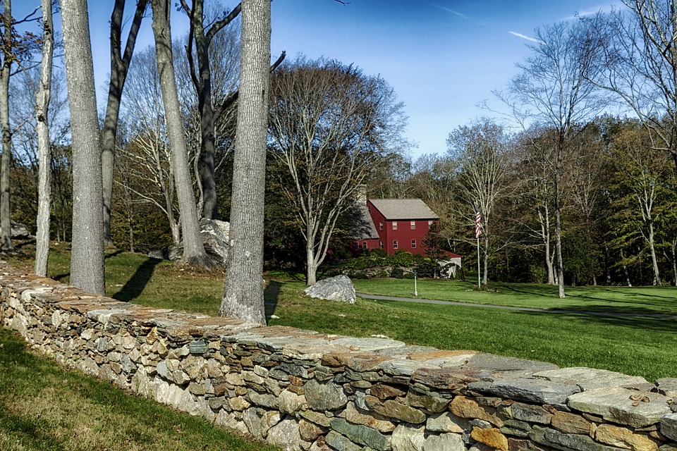 Connecticut, House, Home, Forest, Trees, Stone Wall