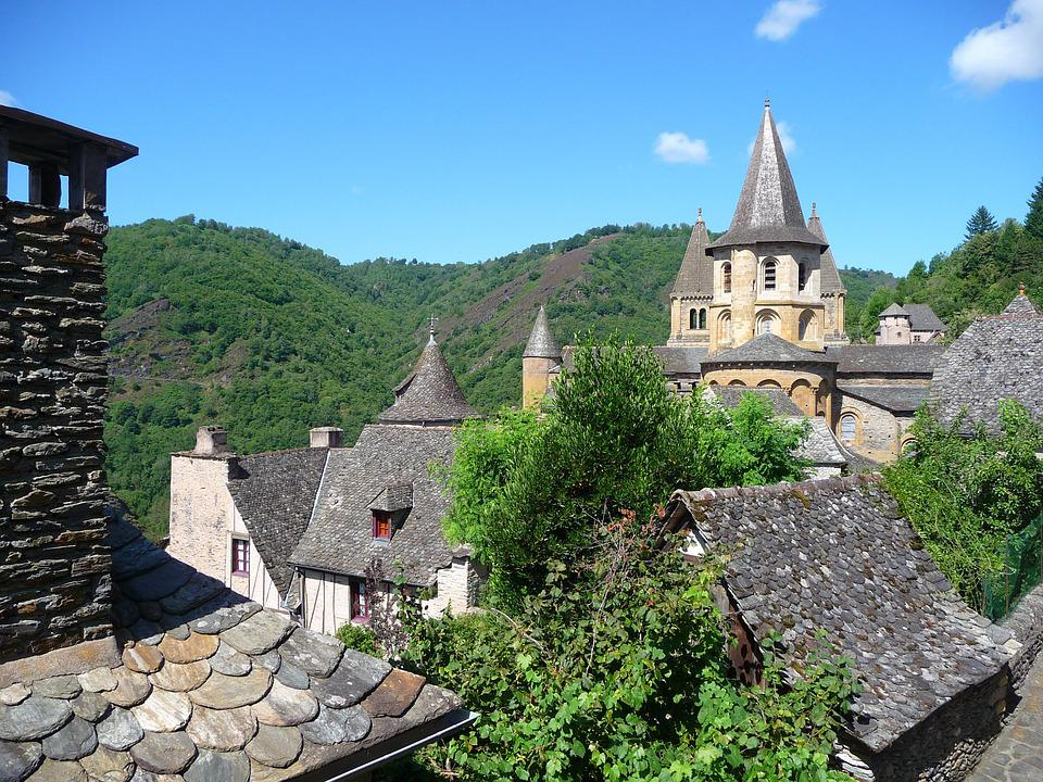 Village, Conques, Medieval, France