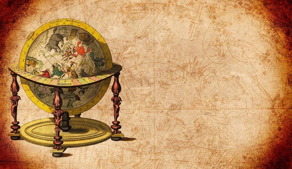 Globe, Meridians, Star Card, Drawing, Constellation