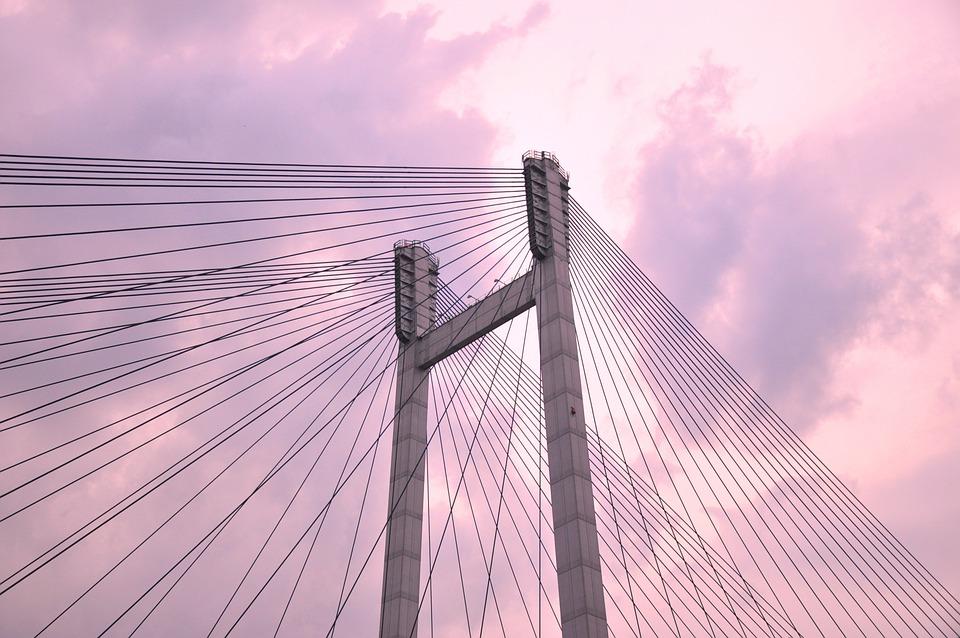 Suspension Bridge, Cable, Bridge, Evening, Construction