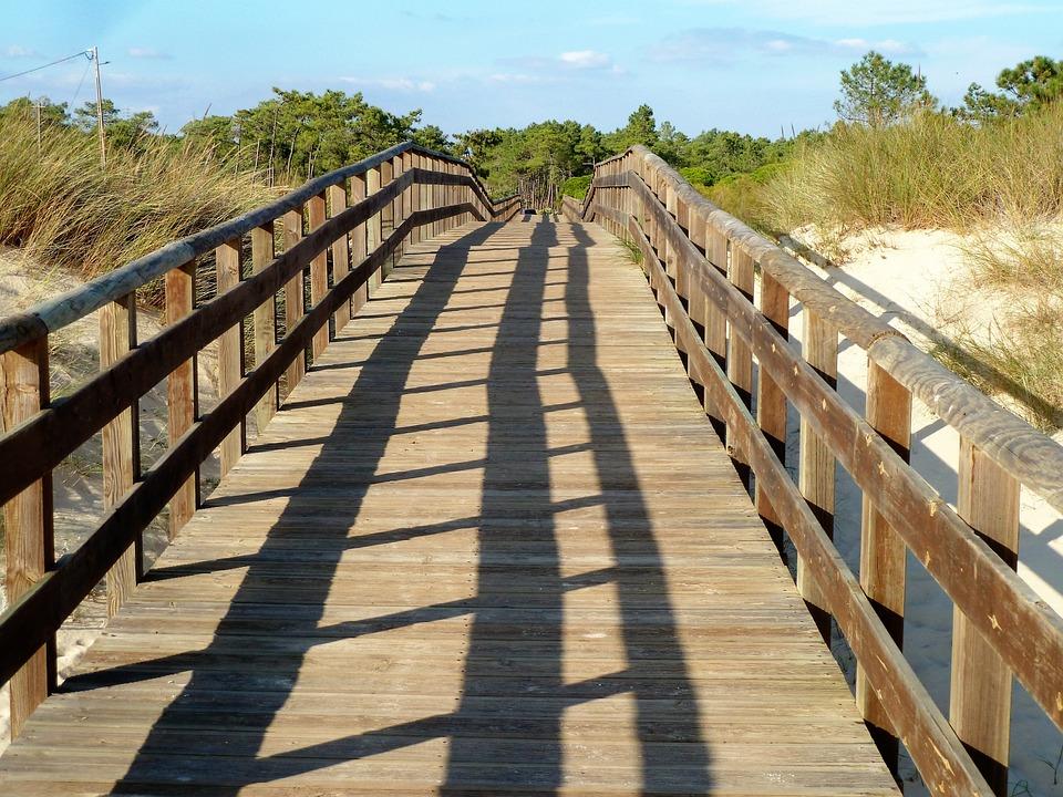 Construction, Wood, Walking Path, Handrail, Shadow