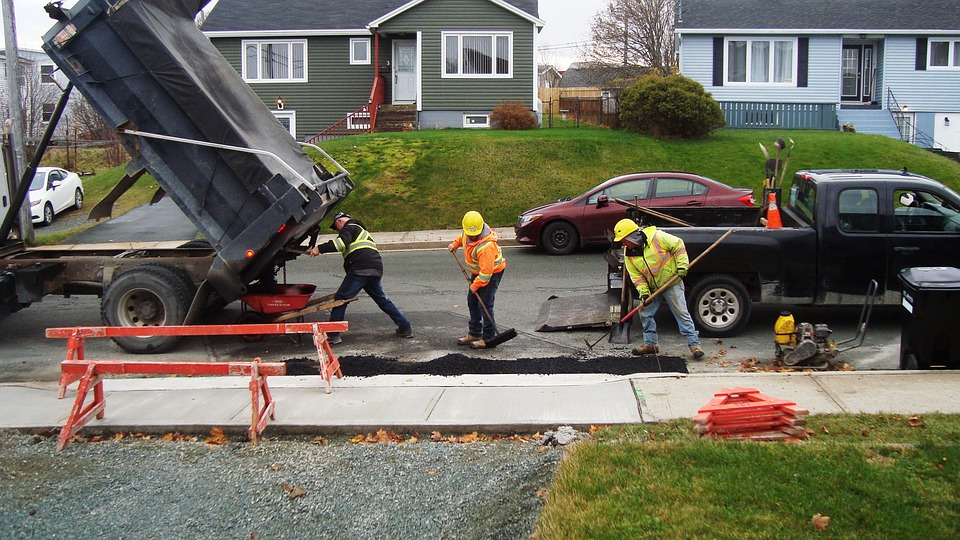 Construction, Workers, Asphalt, Sidewalk, Labour