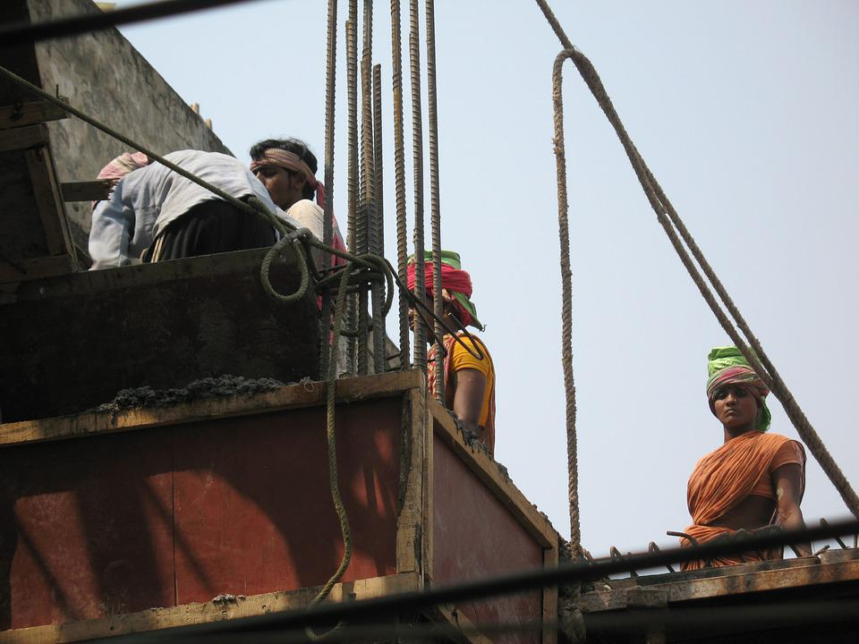 Workers, India, Labour, Construction, Building, Site