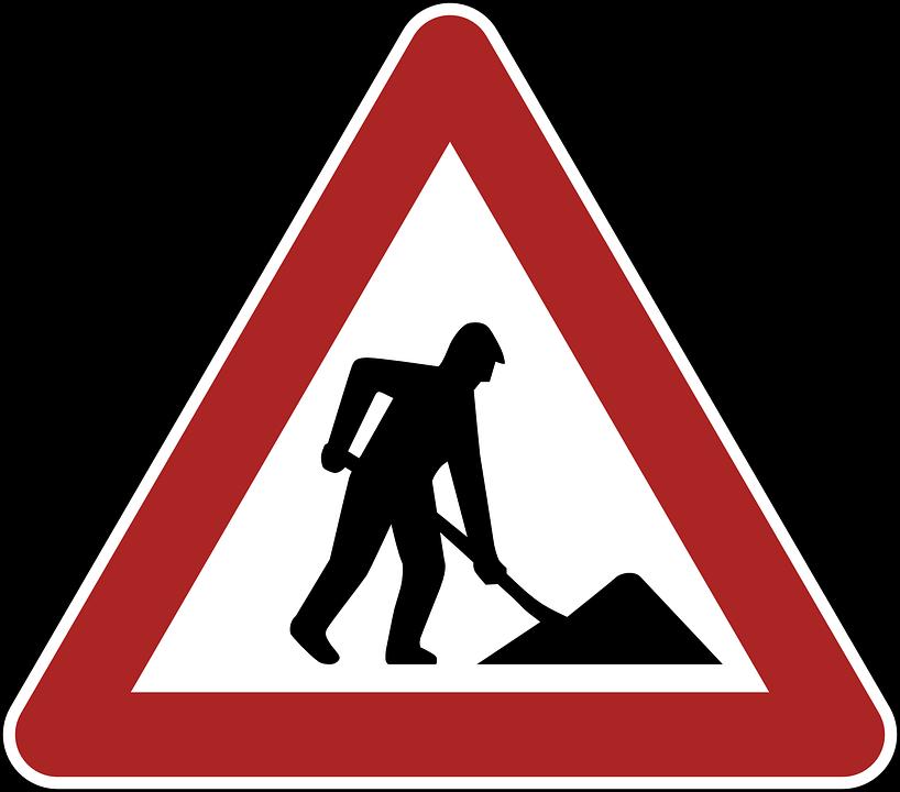 Construction Site, Danger, Warning, Road Sign, Traffic
