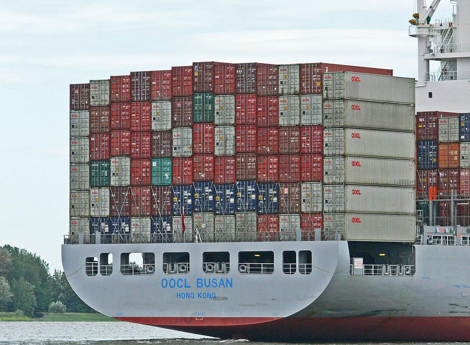 Container, Freighter, Rear, China, Elbe, Hamburg, Cargo