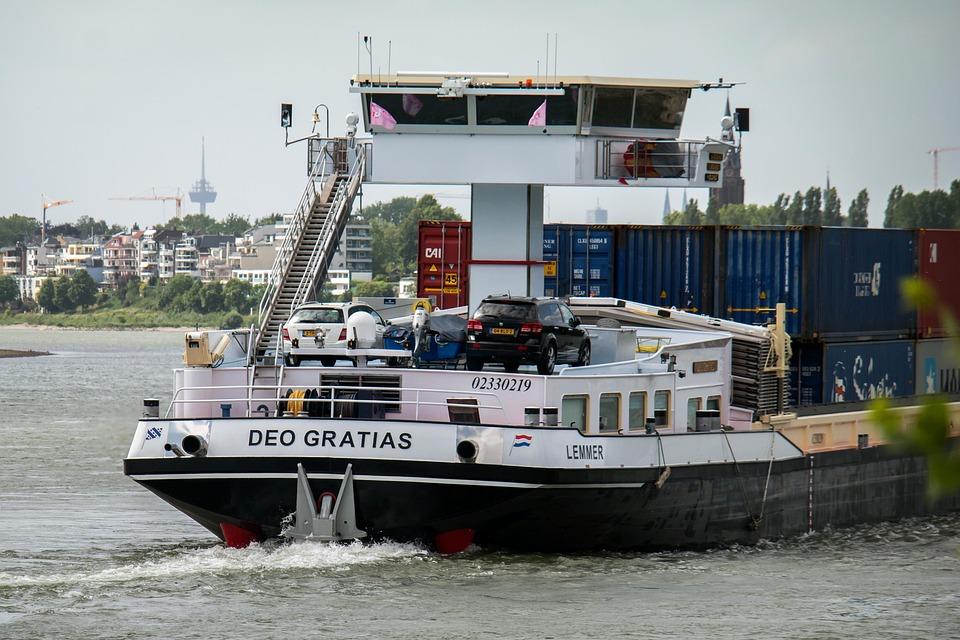Ship, Rhine, Bridge, Command Center, River, Container