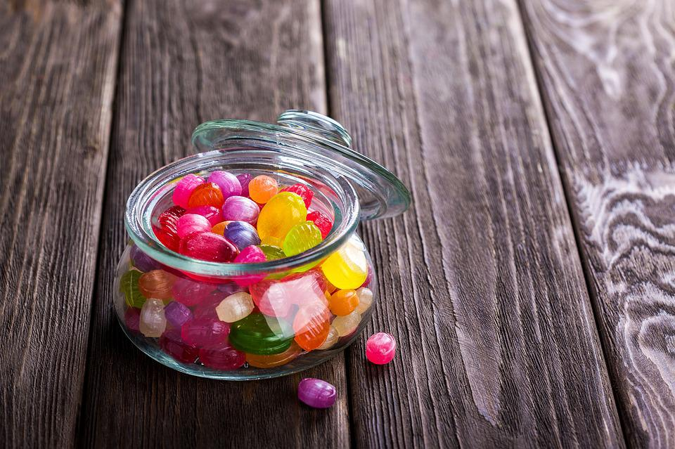 Candies, Sweetmeats, Jar, Glass Jar, Container