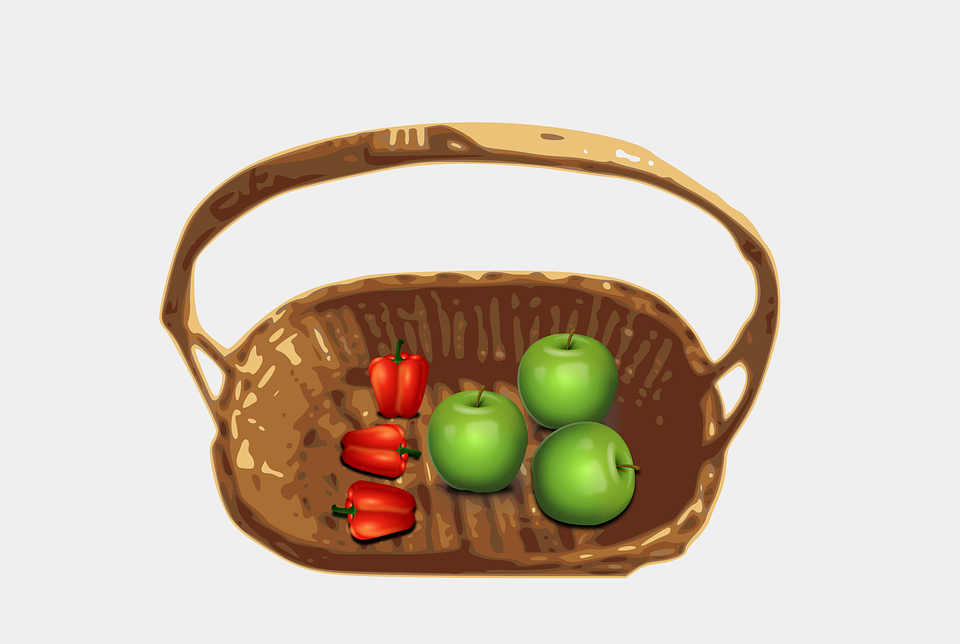 Basket, Container, Fruit, Green, Red, Vegetable