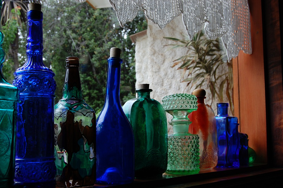 Bottles, Green, Blue, Containers, Storing, Beverges