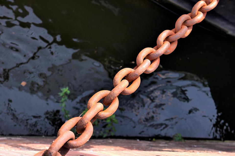 Chain, Containing, Steel, Rust, Corrosion, Connection