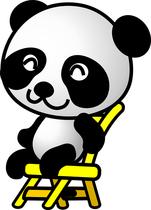 Panda, Sitting, Animal, Chair, Happy, Content