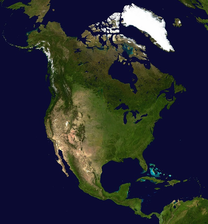 North America, Continent, America, Satellite Photo