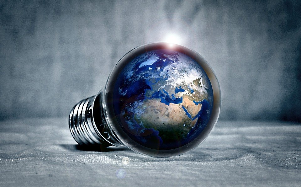 Earth, Planet, Continents, Light, Pear, Light Bulb