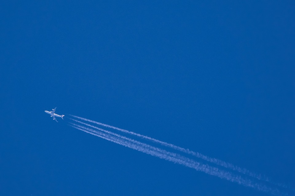 Aircraft, Contrail, Air, Blue, Sky, Fly, Flight