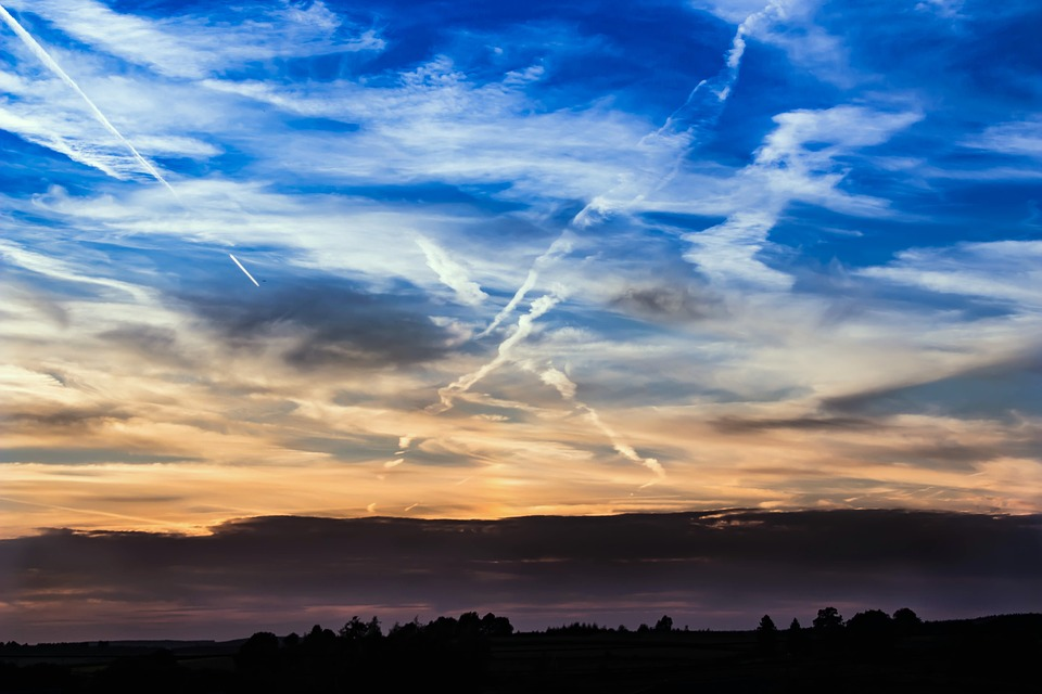 Sunset, Sky, Clouds, Abendstimmung, Contrail, Colorful