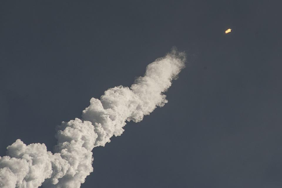 Rocket Launch, Steam, Smoke, Trail, Contrails