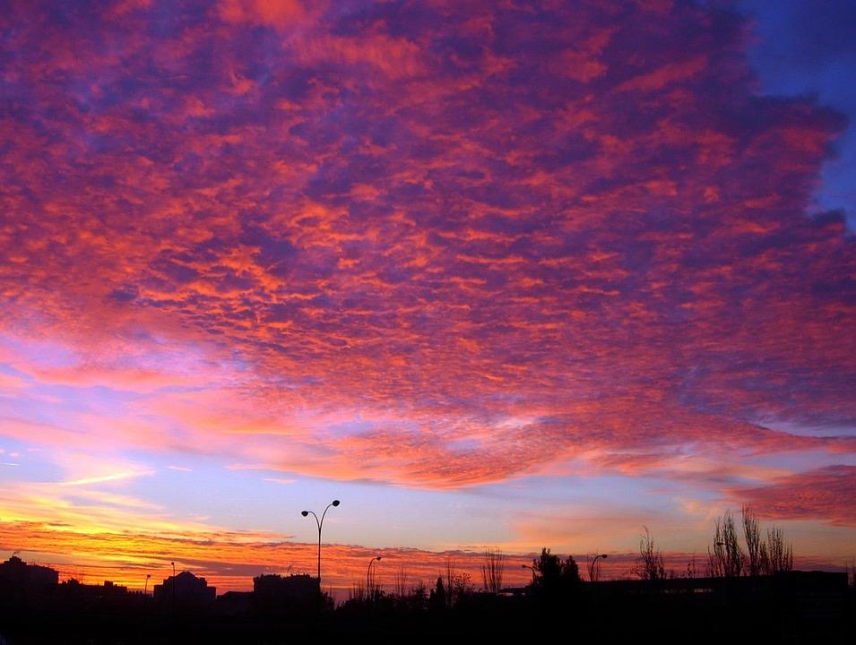 Madrid, Dawn, Clouds, Sky, Light, Wallpaper, Contrast