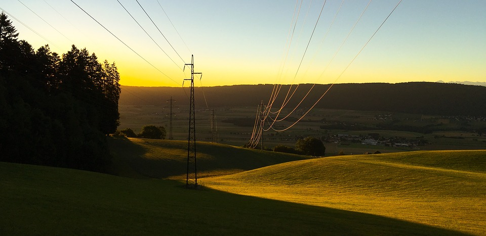 Sunrise, Contrast, Electric Wires, Power Line