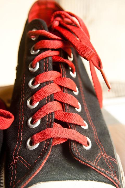 Laces, Shoe, Sneaker, Red, Black, Converse, Footwear
