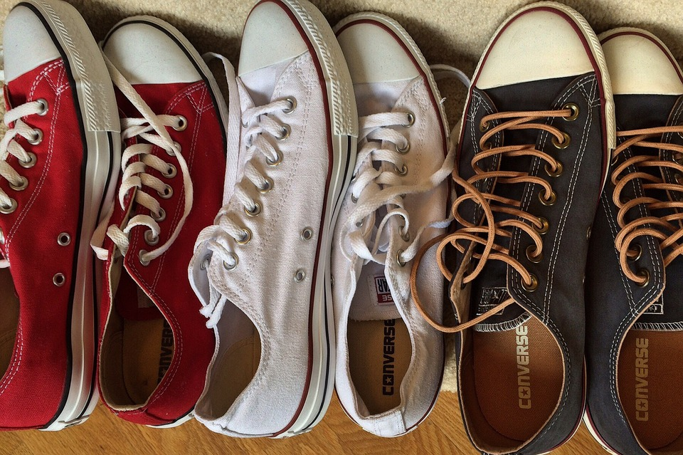 Chucks, Converse, Sneakers, Fashion, Red, White, Blue