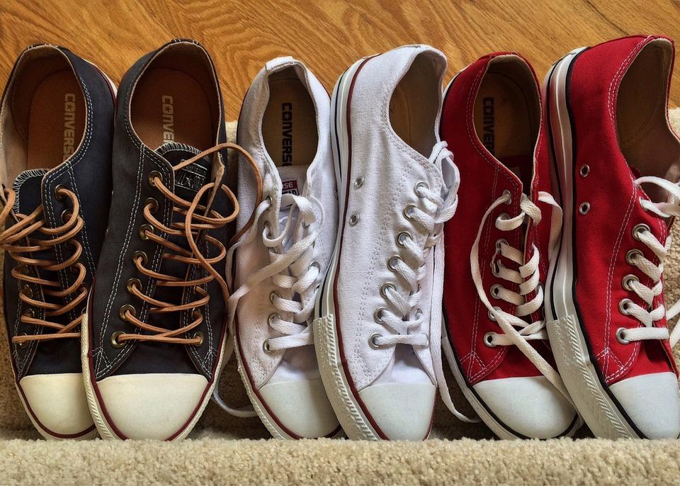 Chucks, Converse, Sneakers, Fashion, Red, White, Blue