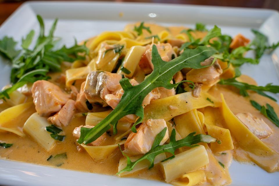 Pasta, Salmon, Asparagus, Rocket, Noodles, Food, Cook