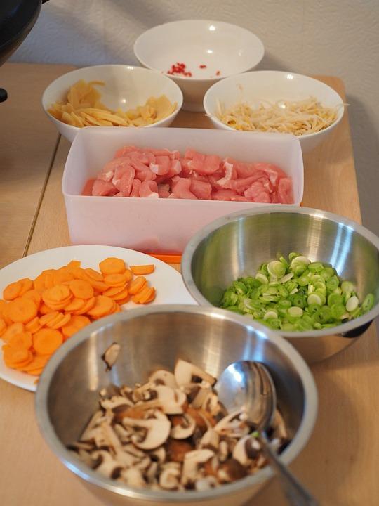 Kitchen, Cook, Ingredients, Vegetables, Meat