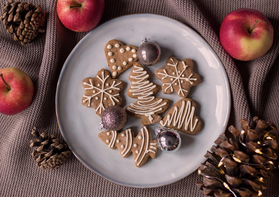 Cookies, Plate, Christmas Cookies, Treats, Snacks