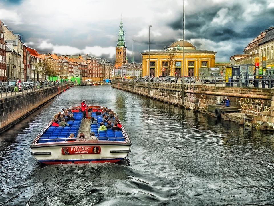 Copenhagen, Denmark, Canal, Boat, Tourists, City