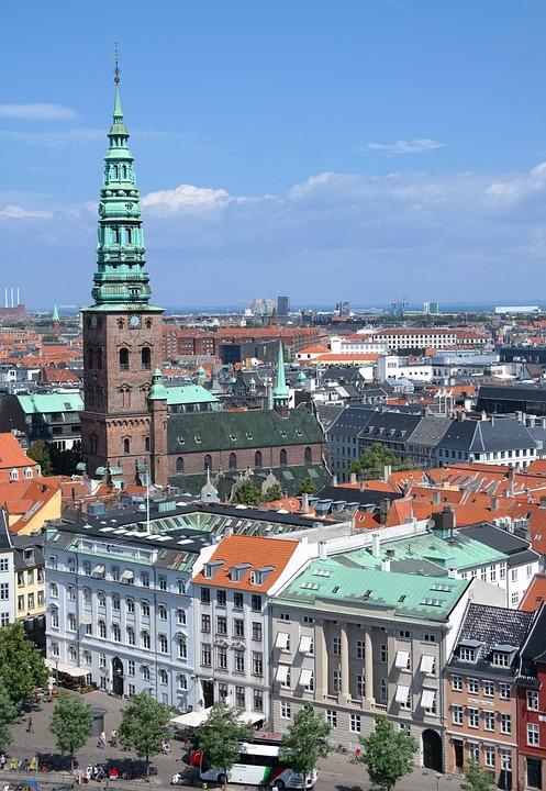 Take, Rooftops, Church, City, View, Copenhagen, Denmark