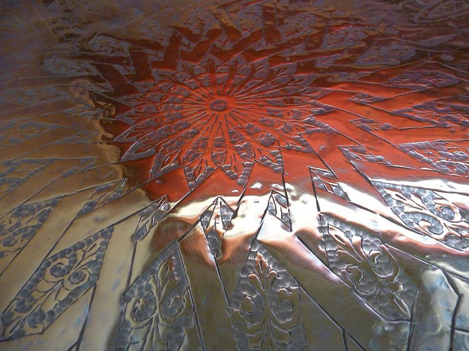 Plateau, Copper, Morocco, Crafts, Manual Work